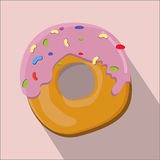 Donut isolated flat style vector illustration. Donut isolated flat style, donut icon isolated on background, donut on a light Background, vector illustration Stock Image
