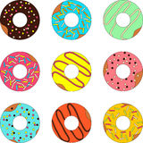 Donut isolated on a white background. Vector set of donut isolated on a white background Royalty Free Stock Photography