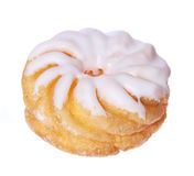 Donut isolated on white, glazed french crullers twisted doughnut Royalty Free Stock Photo