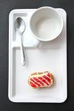Donut like sushi on white dish. Stock Photo