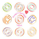 Donut line drawing vector set isolated on white background Stock Images