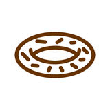 Donut line icon. Sign for production of bread and bakery Stock Image