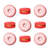 Donut and macaroon vector illustration. Donut and macaroon color vector illustration Stock Photo