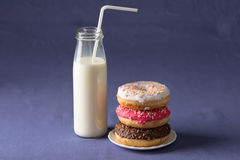 Donut with milk Stock Photo