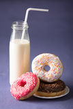Donut with milk Stock Image