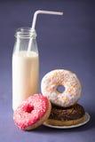 Donut with milk Stock Image