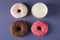 Donut with milk Stock Photography