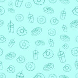 Donut and milkshake seamless background vector Royalty Free Stock Images