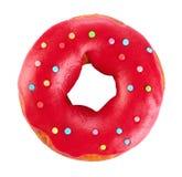 Donut mit der farbigen Glasur, lokalisiert auf weißem Hintergrund lizenzfreies stockfoto