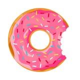 Donut mit einem Mundbiss vektor abbildung