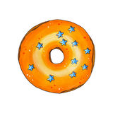 Donut with orange glaze and sprinkles. Hand drawn marker illustr Stock Photos