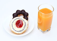 Donut and orange juice. Royalty Free Stock Images