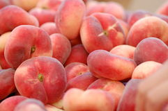 Donut Peaches, Prunus persica. Fresh donut peaches for sale in the market Stock Images
