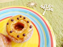 Donut with peanut butter and chocolate Royalty Free Stock Photography
