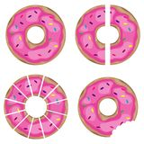 Donut, pieces of donuts, halved pon. Flat design,  illustration Royalty Free Stock Photos