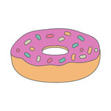 Donut with pink frosting. Tasty pastries. Royalty Free Stock Images