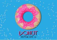 Donut pink glaze on blue vector. Royalty Free Stock Photos