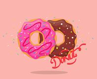 Donut with pink glaze and chocolate. royalty free illustration
