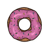 Donut with pink glaze. Donut with pink icing. Royalty Free Stock Image