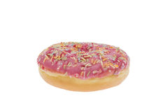 Donut with pink glaze isolated Royalty Free Stock Photos