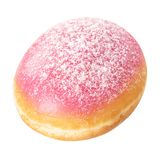 Donut with pink glaze, isolated on white background. Doughnut closeup royalty free stock images