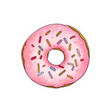 Donut with pink glaze and sprinkles. Hand drawn marker illustrat Stock Images