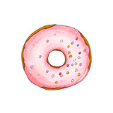 Donut with pink glaze and sprinkles. Hand drawn marker illustrat Royalty Free Stock Image