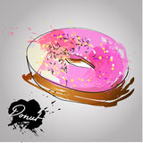 Donut with pink glazed. Royalty Free Stock Photo