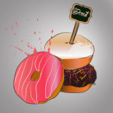 Donut with pink glazed. Stock Images