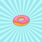 Donut with pink icing Stock Photography