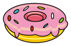 Donut with pink icing Royalty Free Stock Image
