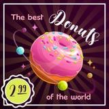 Donut planet banner. Food planet illustration. Vector poster. royalty free illustration