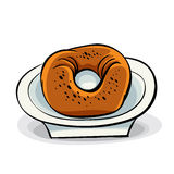 Donut on a plate. Royalty Free Stock Image