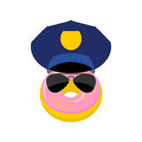 Donut in a police cap and glasses. Vector illustration policeman Stock Photo