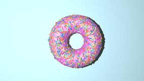 Donut render top view. Donut with pink creme and rainbow sprinkles on the top stock illustration