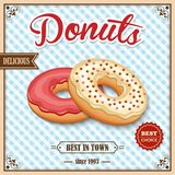 Donut retro poster Royalty Free Stock Image