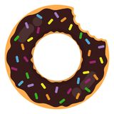 Donut Ring Float. Chocolate glazed donut inflatable ring float isolated on white background vector illustration