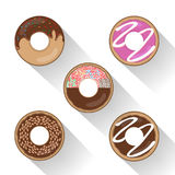 Donut set with sprinkles isolated tasty cream doughnut. Stock Images