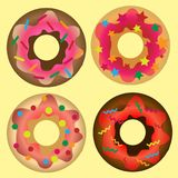 Donut set with sprinkles isolated on white background. royalty free illustration
