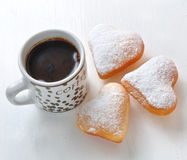 Donut in the shape of heart and coffee Stock Photography