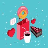 Donut shop Cake dessert Delicious food isometric infographic element set Royalty Free Stock Photo