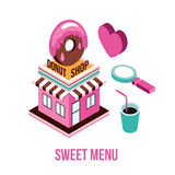 Donut shop Coffee love Food isometric infographic element set Royalty Free Stock Photos
