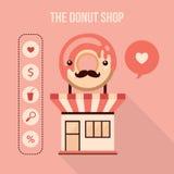 Donut shop design element set Food delicious dessert web icons Stock Image
