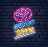 Donut-Shop-Leuchtreklame auf Ziegelsteinhintergrund lizenzfreie abbildung