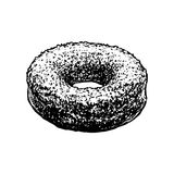 Donut Sketch Icon Isolated On White Background. Hand Drawn Cake Vintage Vector Illustration. Royalty Free Stock Photo
