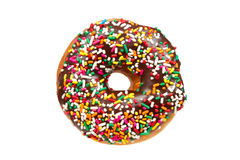 Donut with Sprinkles Isolated on White Background. Donut with Chocolate Icing and Colorful Sprinkles - Studio Shot Isolated on a White Background stock images