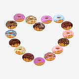 Donut with sprinkles isolated on white background. Donuts in form of heart isolated on white background. National Donut Day. Flat  stock illustration Stock Photos
