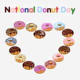 Donut with sprinkles isolated on white background. Donuts in form of heart isolated on white background. National Donut Day. Flat  stock illustration Royalty Free Stock Photos