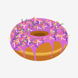 Donut with sprinkles isolated on white background Royalty Free Stock Photography