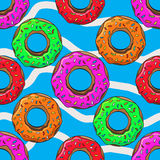 Donut with sprinkles seamless pattern vector illustration Stock Photography